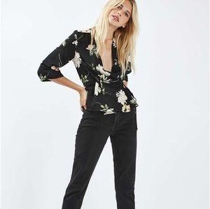 Top Shop Dragon Floral Black Wrap Blouse Size 6